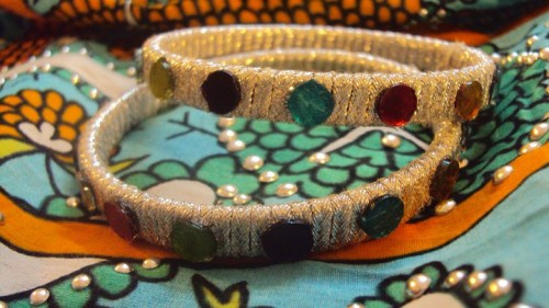 Bangles having Silver thread with glass work