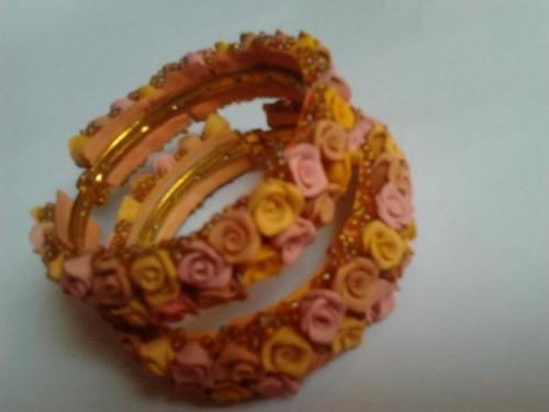 Dough Flowers arranged bangles e1333220802172 Handmade bangles fashion / trend