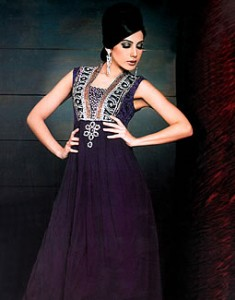 Eggplant Vista 235x300 Pakistani Party Wear / Dress