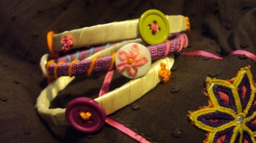 Handmade bangles using Buttons