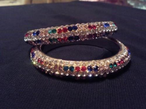 Multicolor Gems embeded Bangles e1333221153767 Handmade bangles fashion / trend