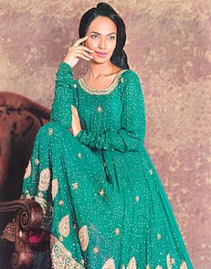 Teal Uliva 235x300 Pakistani Party Wear / Dress