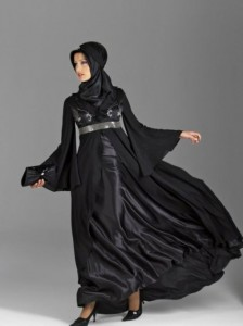 Pure Black Silk Abaya 224x300 Latest handmade Abaya trend