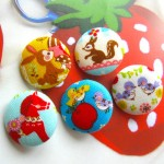 Colorful Japanese horse Rabbit Bird Squirrel Woodland Animal Fabric Buttons