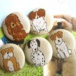 Cream Dog Puppy Animal Children Handmade Fabric Buttons