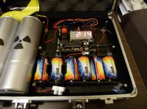 Defusable Alarm Clock Bomb in Briefcase
