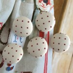 Handmade Fabric Buttons - Cream Dark Red Polka Dots