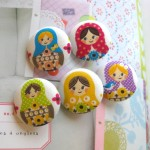 Kokka Rainbow Russian Matryoshka Doll Handmade Fabric Buttons