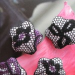 White Black and Purple Floral Lace Flower Shape Handmade Buttons