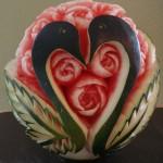 Carved Watermelon - Ducks in Heart Shape