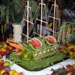 Carved Watermelon Ship