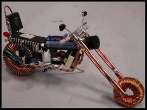 Electronic Motorcycle Made from Transistors, Capacitors and Wire