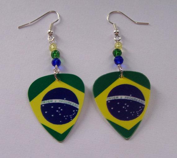 Support And Wear Brazilian Team Flag Earrings