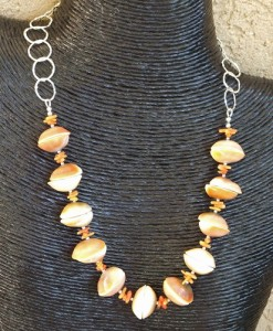 Shell Orange Necklace - Handmade Beaded Jewelry