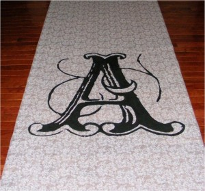 Wedding Aisle Runner Custom Font Prints 300x279 Simple and Effective Wedding Aisle Decorations