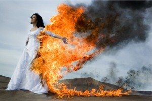 Fire Trashing Wedding Dress Photoshot 300x200 5 Things to do with a Used Wedding Dress