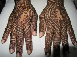 Mehandi Designs with Lovers Photos