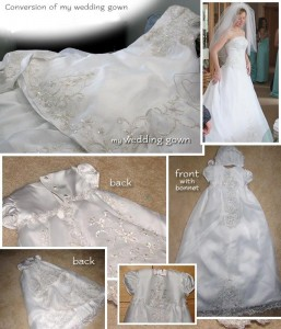 Wedding Dress Converted into Christening Gown 257x300 5 Things to do with a Used Wedding Dress