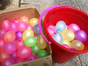 Water Filled Balloons and Pail