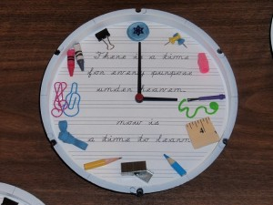 School Supplies Clock