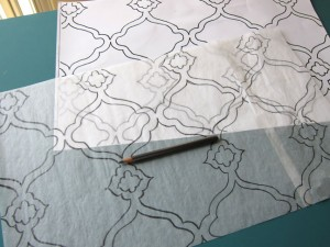 Transfer Design to Tracing Paper 300x225 Making a Quatrefoil Design Rug Yourself   DIY Ideas