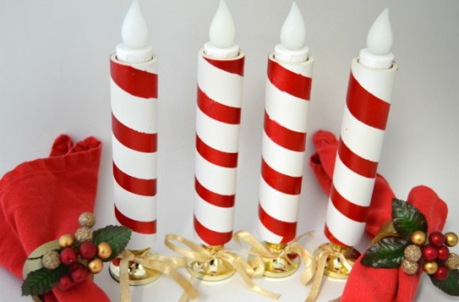 DIY PVC Candy Cane Candle Jackets